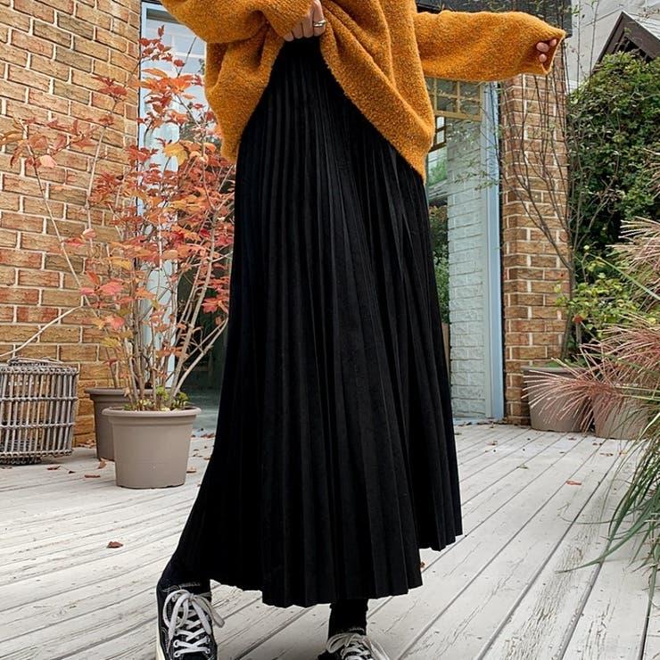 フェイクスエードマキシプリーツスカート 韓国ファッション カジュアル   ENVYLOOK   詳細画像1