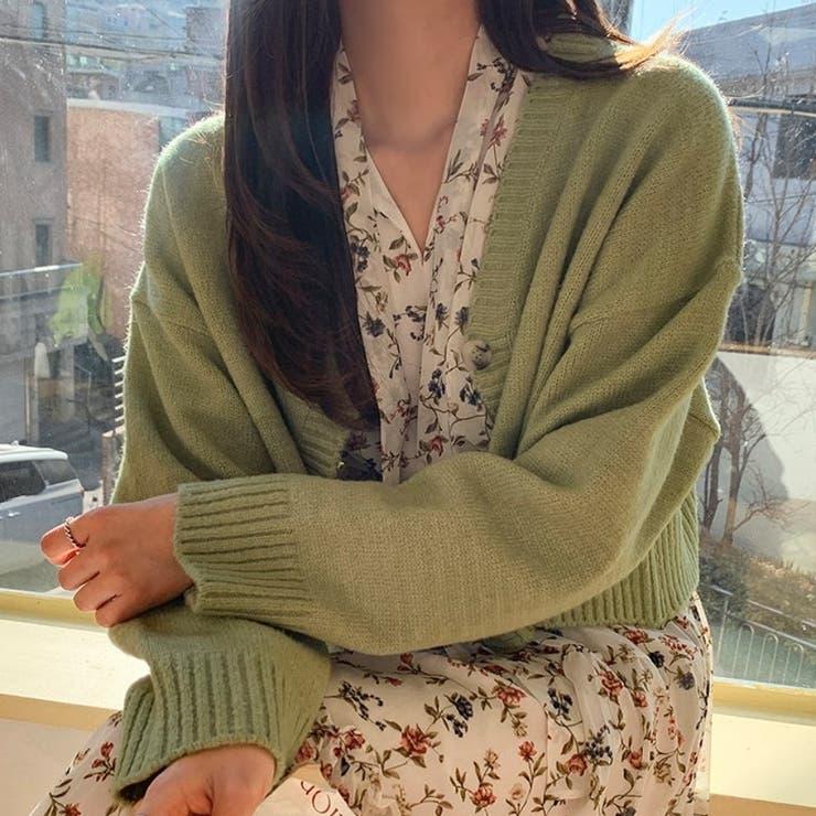 パステルカラークロップドVネックニットカーディガン 韓国ファッション カジュアル | ENVYLOOK | 詳細画像1