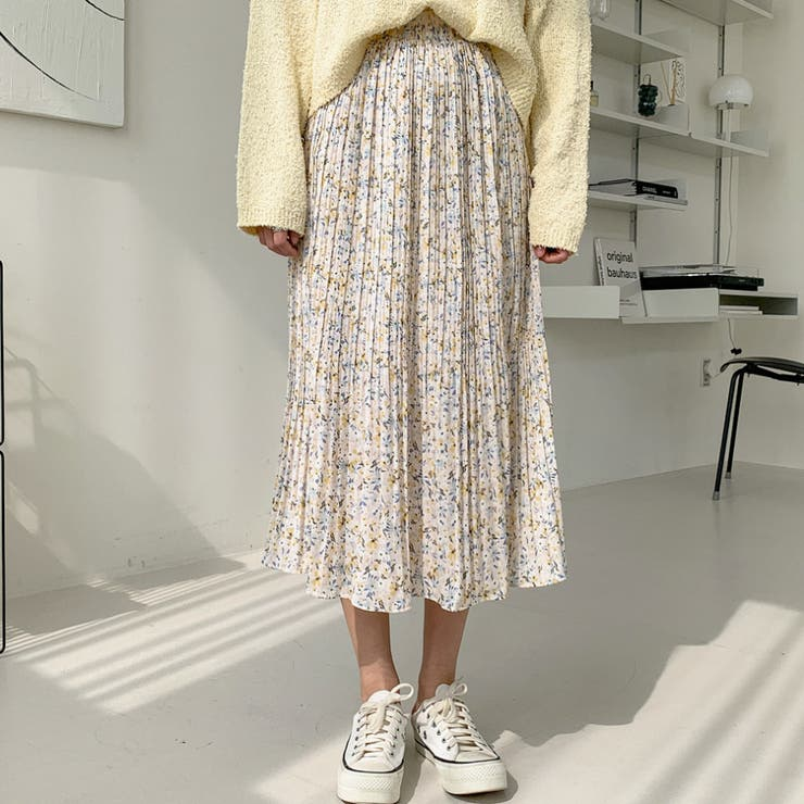 ミモレ丈フラワープリーツスカート 韓国ファッション カジュアル   ENVYLOOK   詳細画像1