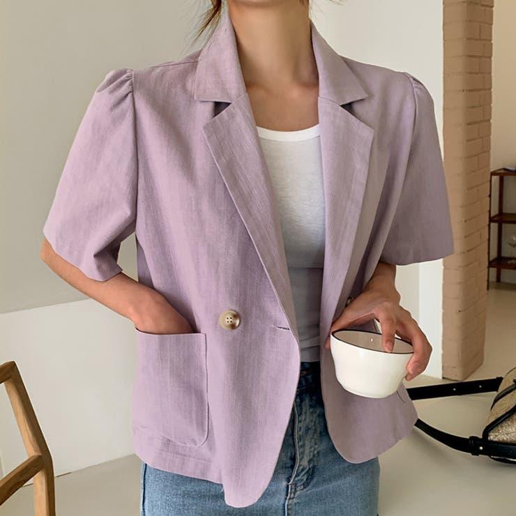 リネンライクコットンパフ半袖テーラードジャケット 韓国ファッション カジュアル   ENVYLOOK   詳細画像1