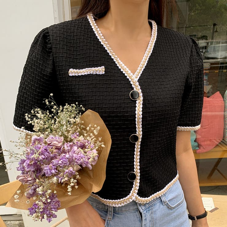 ラメヘムラインエンボス加工パフ半袖クロップドジャケット 韓国ファッション   ENVYLOOK   詳細画像1