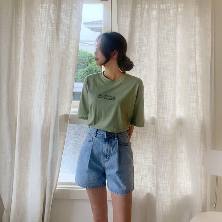 ウエストタックハイウエストデニムショートパンツ 韓国ファッション カジュアル | ENVYLOOK | 詳細画像1