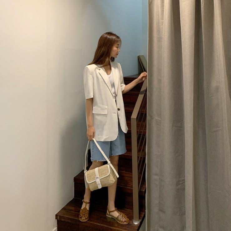 肩パッド付きレーヨンリネン半袖テーラードジャケット 韓国ファッション カジュアル | ENVYLOOK | 詳細画像1