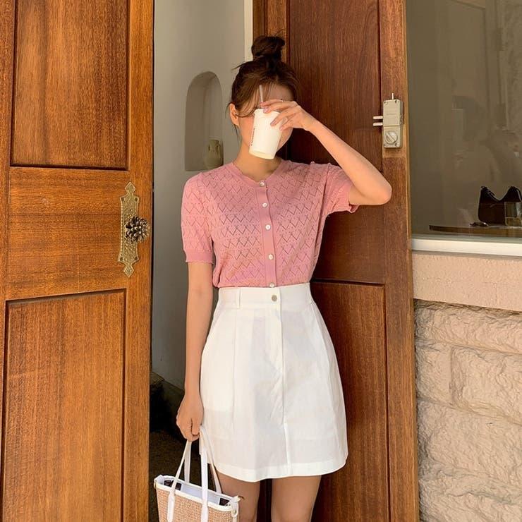 スカラップ端クロップド半袖透かしニットカーディガン 韓国ファッション カジュアル | ENVYLOOK | 詳細画像1