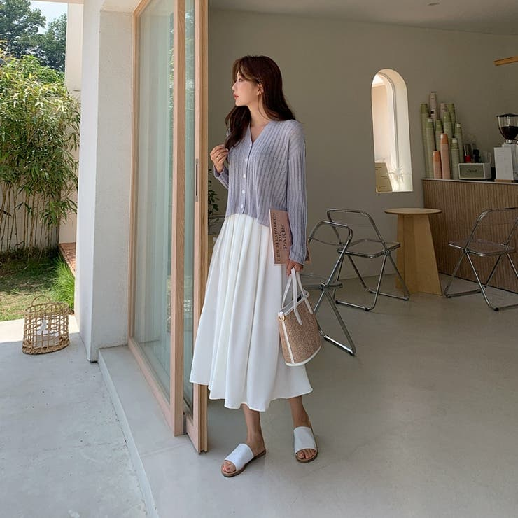 ミモレ丈バックゴムタックプリーツスカート 韓国ファッション カジュアル | ENVYLOOK | 詳細画像1