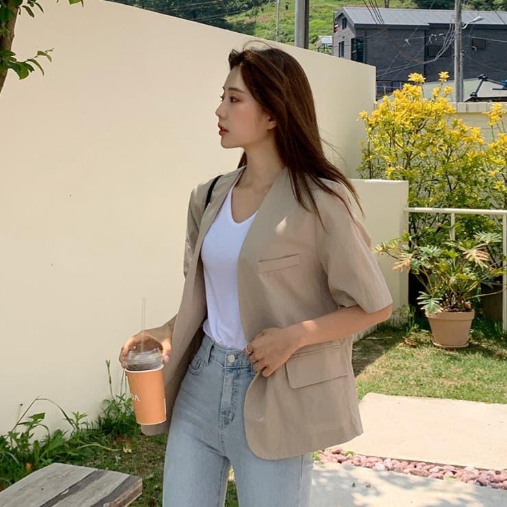 コットンリネン肩パッド付きノーカラーVネック半袖ジャケット 韓国ファッション | ENVYLOOK | 詳細画像1