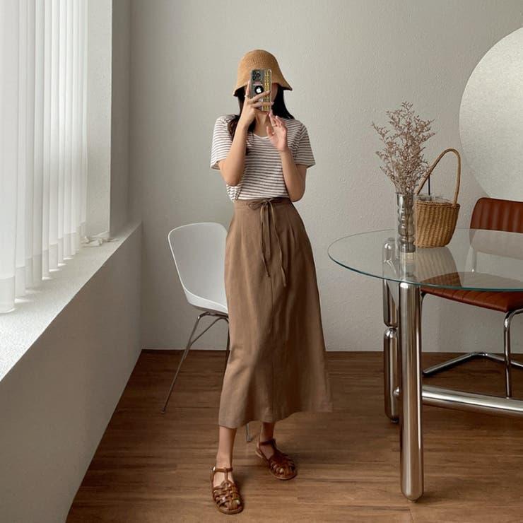 リネンコットンフロントリボンバックゴムロングスカート 韓国ファッション カジュアル | ENVYLOOK | 詳細画像1