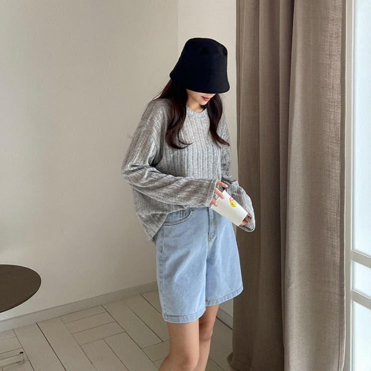 シンプルハイウエストノンストレッチデニムショートパンツ 韓国ファッション | ENVYLOOK | 詳細画像1