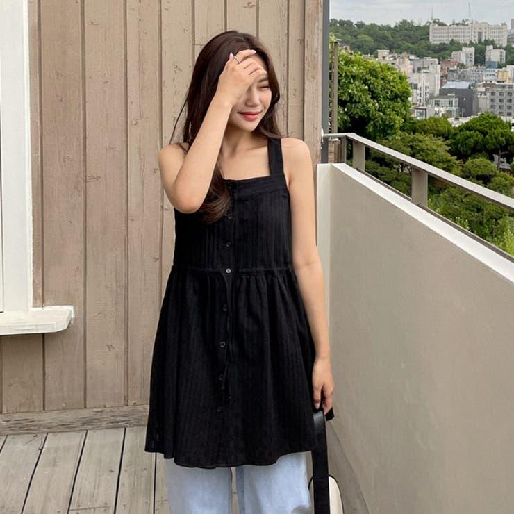 ウエストリボンフロントピンタックスリーブレスブラウス 韓国ファッション カジュアル   ENVYLOOK   詳細画像1
