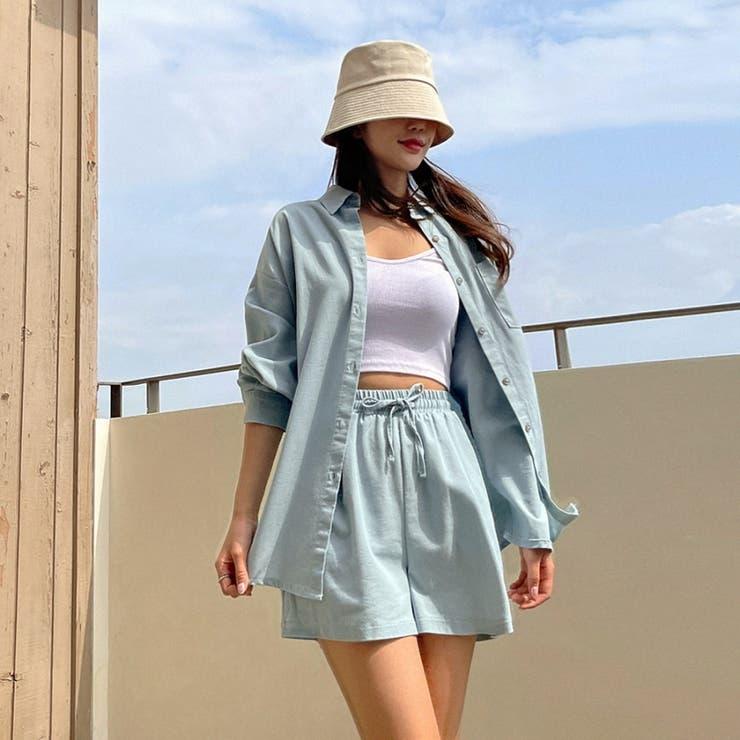 リネン混ワンポケットシャツ+ウエストゴムショートパンツ 韓国ファッション | ENVYLOOK | 詳細画像1