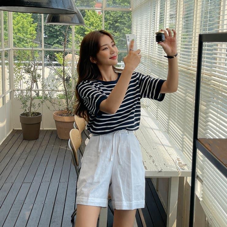 リネンコットンダブルベルトループロールアップ風ショートパンツ 韓国ファッション | ENVYLOOK | 詳細画像1