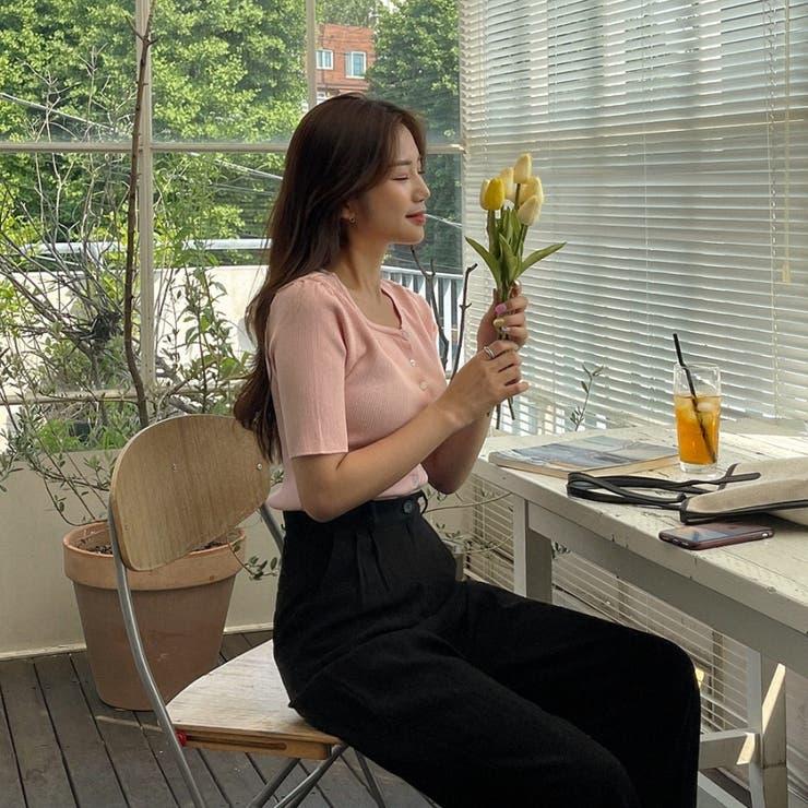 ビスコース混半袖スリムリブニットカーディガン 韓国ファッション カジュアル   ENVYLOOK   詳細画像1