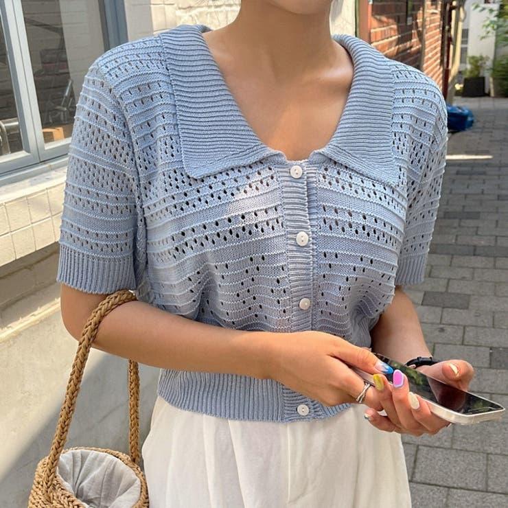 襟付きクロップド半袖透かしニットカーディガン 韓国ファッション カジュアル | ENVYLOOK | 詳細画像1