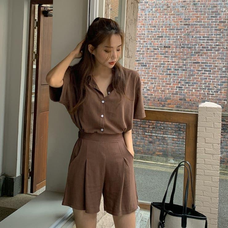 レーヨンリネン半袖シャツ+バックゴムショートパンツ 韓国ファッション カジュアル | ENVYLOOK | 詳細画像1