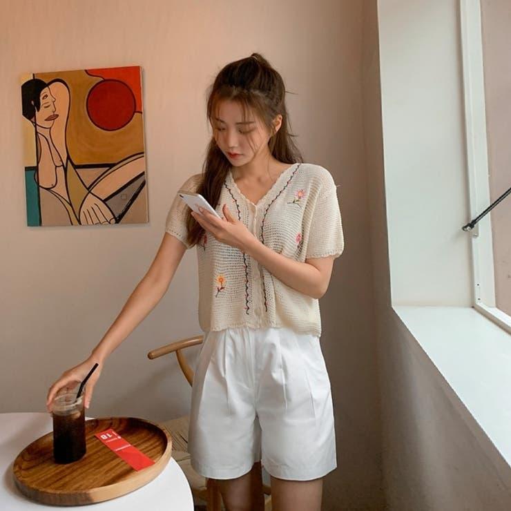 花柄刺繡スカラップヘムクロップド半袖ニットカーディガン 韓国ファッション | ENVYLOOK | 詳細画像1