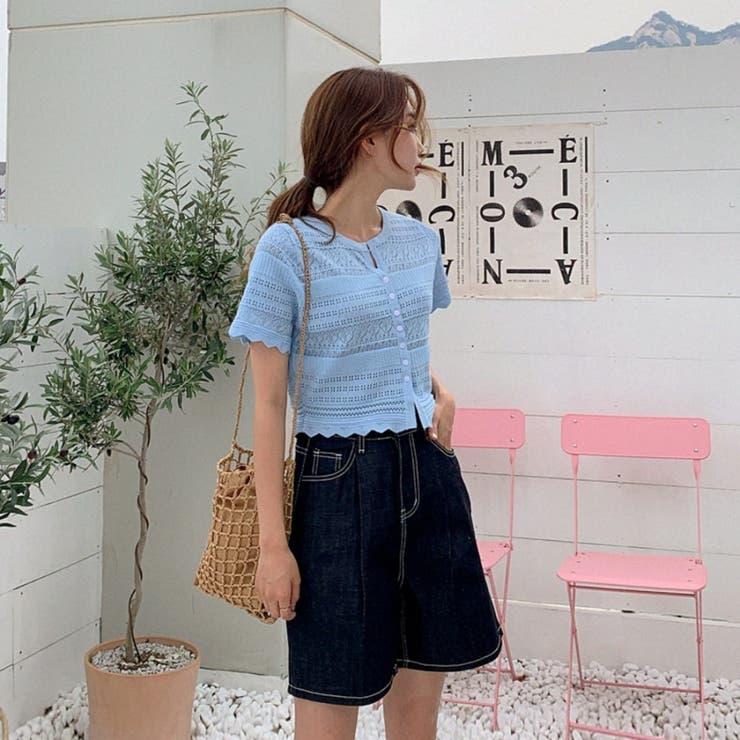 ジグザグヘムクロップドパンチングニットカーディガン 韓国ファッション カジュアル   ENVYLOOK   詳細画像1