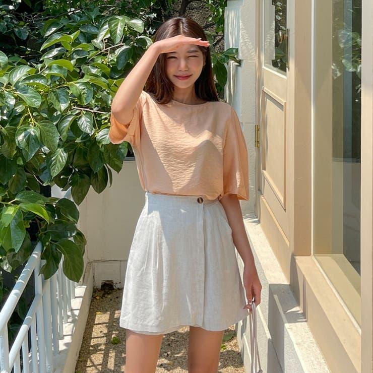 レーヨンリネンラップ風バックゴムショートパンツ 韓国ファッション カジュアル | ENVYLOOK | 詳細画像1