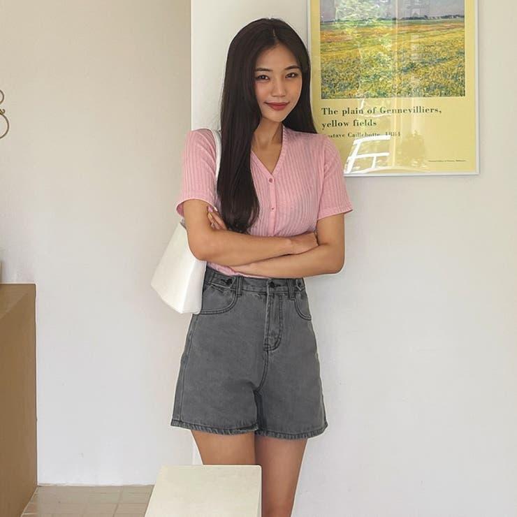 ハイウエストサイドボタンウォッシングデニムショートパンツ 韓国ファッション   ENVYLOOK   詳細画像1