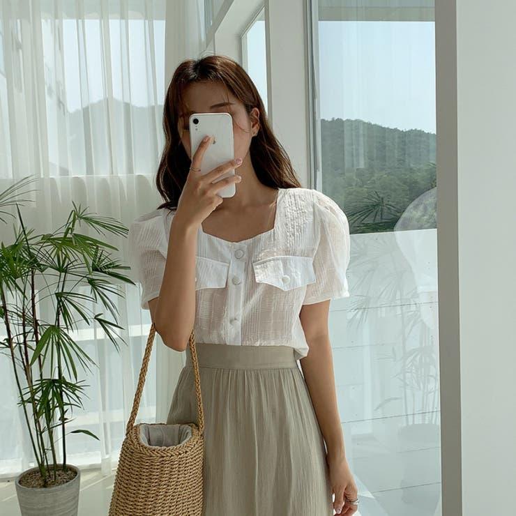 バストフェイクポケットパフ半袖スクェアネックブラウス 韓国ファッション カジュアル | ENVYLOOK | 詳細画像1