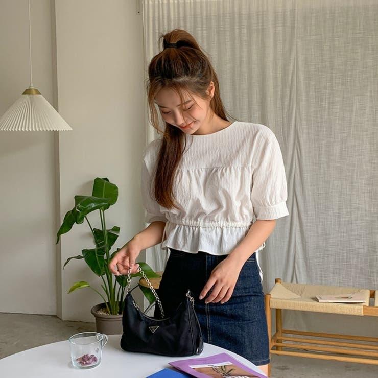 ドロスト両サイドリボン半袖クロップドペプラムブラウス 韓国ファッション カジュアル   ENVYLOOK   詳細画像1