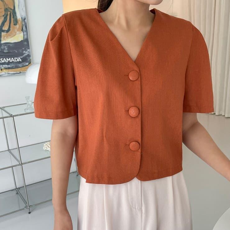 ビッグボタンボリューム半袖クロップドブラウス 韓国ファッション カジュアル | ENVYLOOK | 詳細画像1