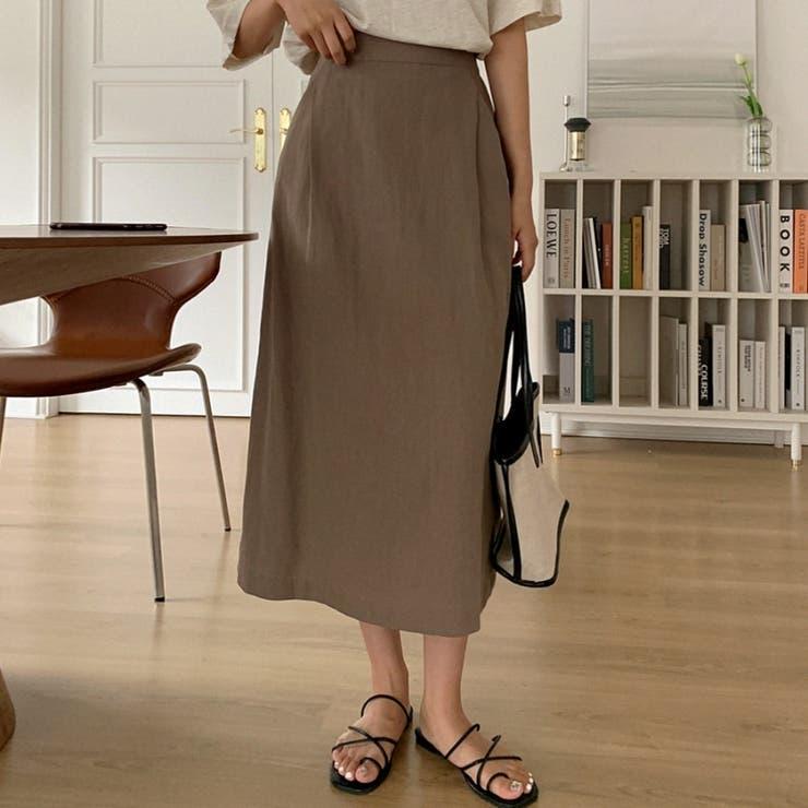ポケットラインタックバックゴムコットンリネンロングスカート 韓国ファッション | ENVYLOOK | 詳細画像1