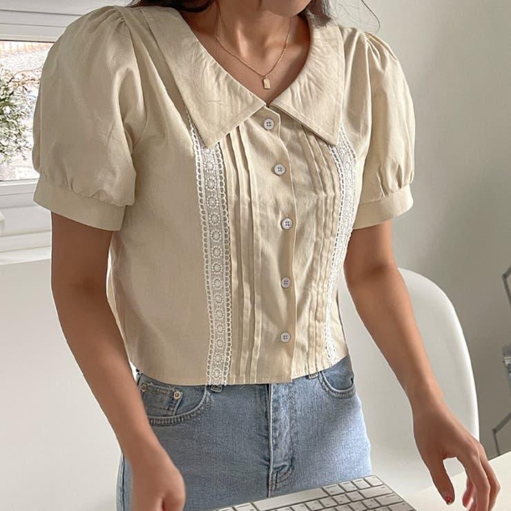 襟付きラインレースパフ半袖クロップドブラウス 韓国ファッション カジュアル | ENVYLOOK | 詳細画像1