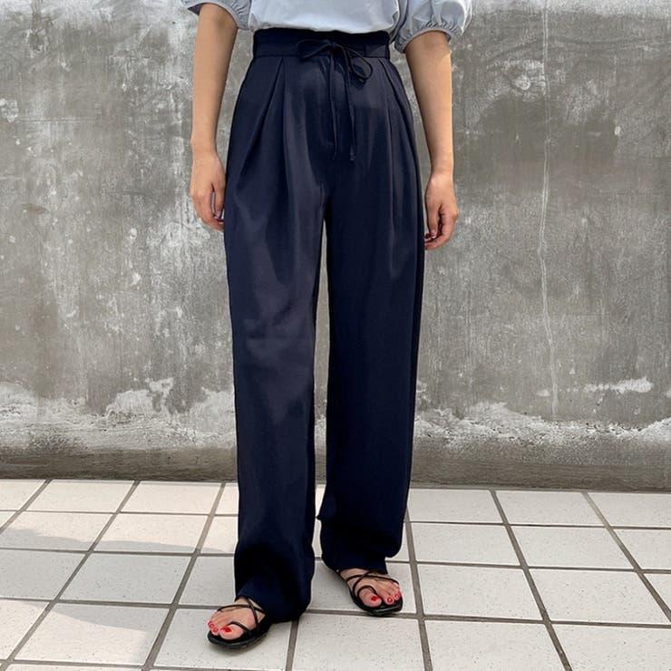 ウエストリボンタックワイドバックゴムマキシスラックス 韓国ファッション カジュアル   ENVYLOOK   詳細画像1