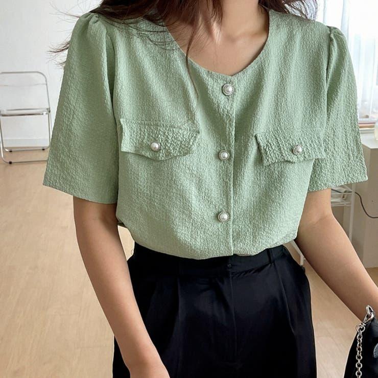 パールボタンパフ半袖ラウンドブラウス 韓国ファッション カジュアル   ENVYLOOK   詳細画像1