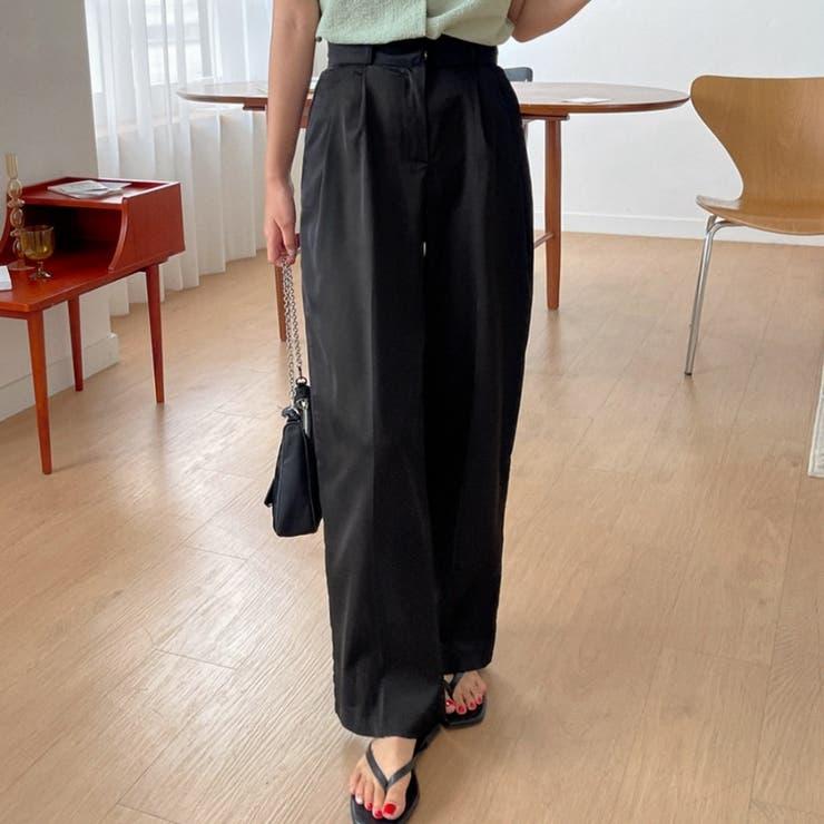 ダブルタックストレートワイドスラックス 韓国ファッション カジュアル | ENVYLOOK | 詳細画像1