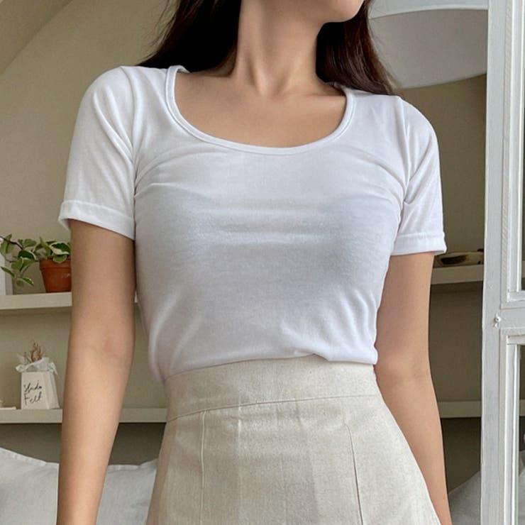 ストレッチコットンUネック半袖Tシャツ 韓国ファッション カジュアル   ENVYLOOK   詳細画像1