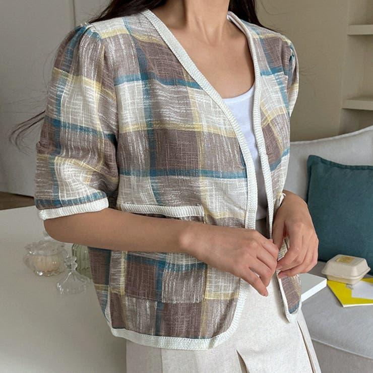 スラブチェックノーカラー半袖オープンジャケット 韓国ファッション カジュアル | ENVYLOOK | 詳細画像1
