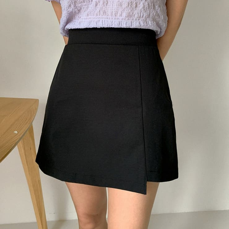 アンバランス丈バックゴムミニスカート 韓国ファッション カジュアル   ENVYLOOK   詳細画像1