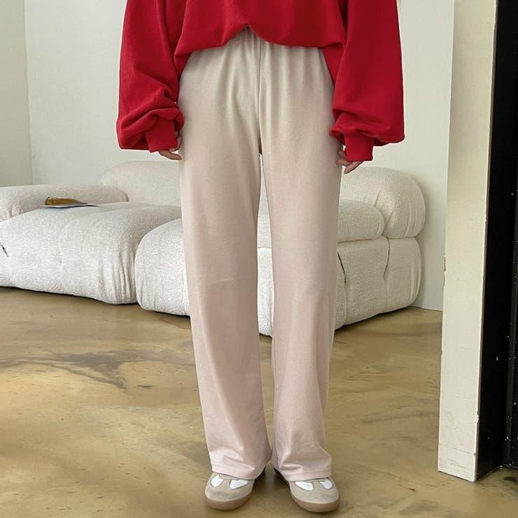 ウエストゴムソフトカットソーワイドパンツ 韓国ファッション カジュアル | ENVYLOOK | 詳細画像1