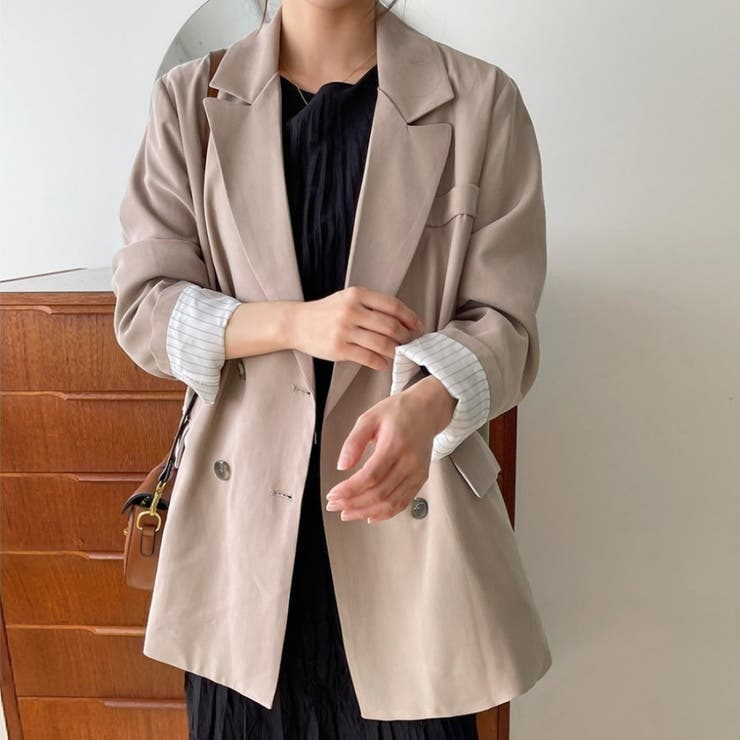 オーバーシルエットダブルテーラードジャケット 韓国ファッション カジュアル   ENVYLOOK   詳細画像1