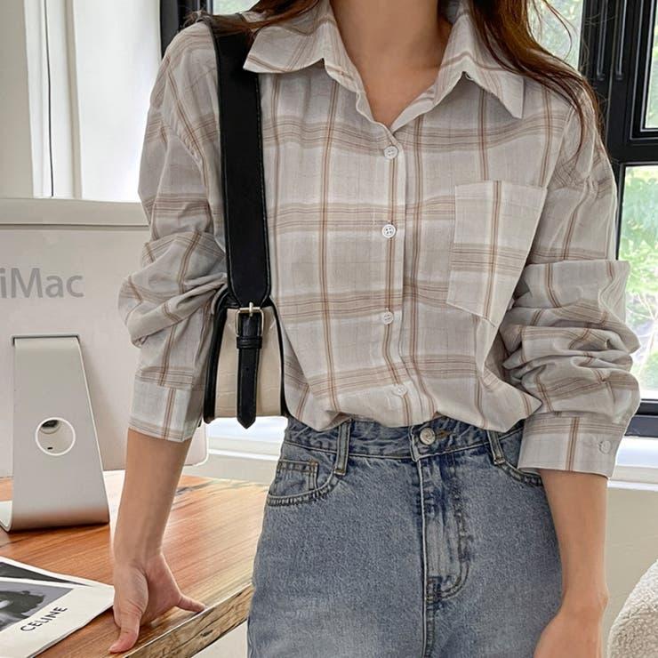 ワンポケットライトカラーチェックシャツ 韓国ファッション カジュアル | ENVYLOOK | 詳細画像1