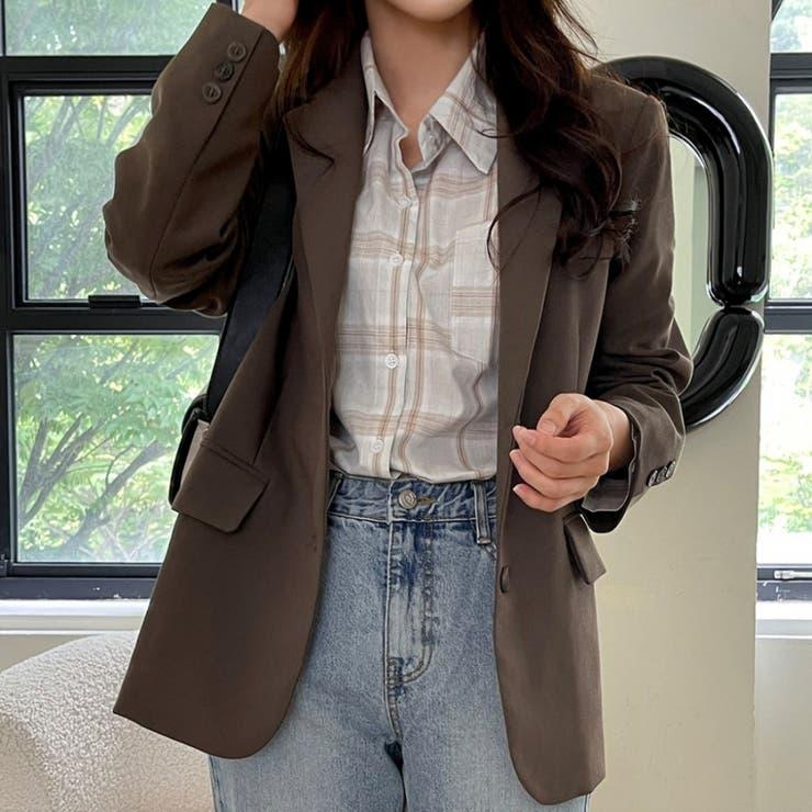 オータムカラー肩パッド付きシングルテーラードジャケット 韓国ファッション   ENVYLOOK   詳細画像1