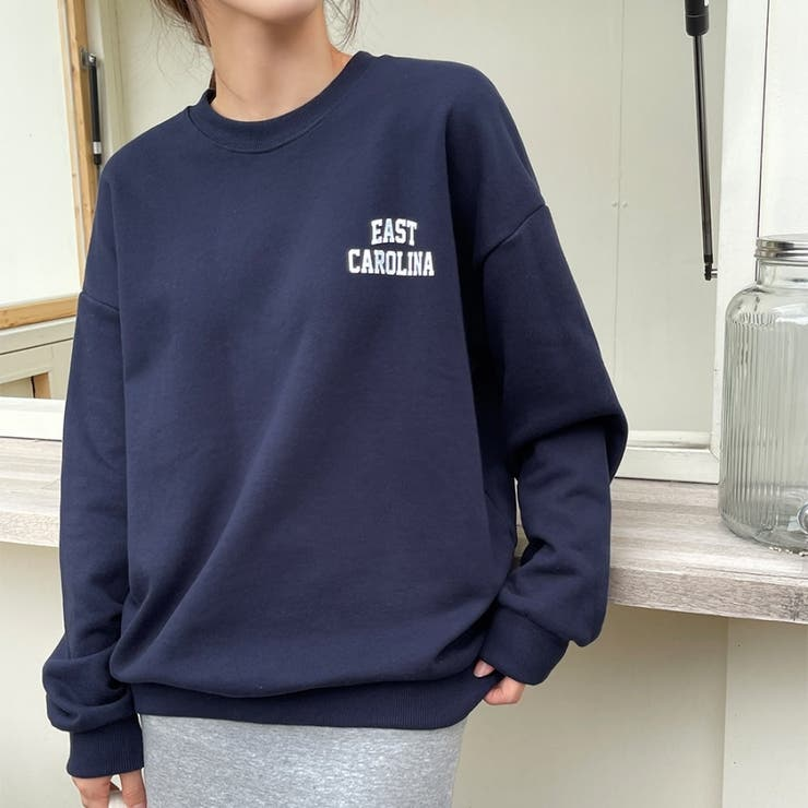 イーストカロリーナロゴスウェットプルオーバー 韓国ファッション カジュアル | ENVYLOOK | 詳細画像1