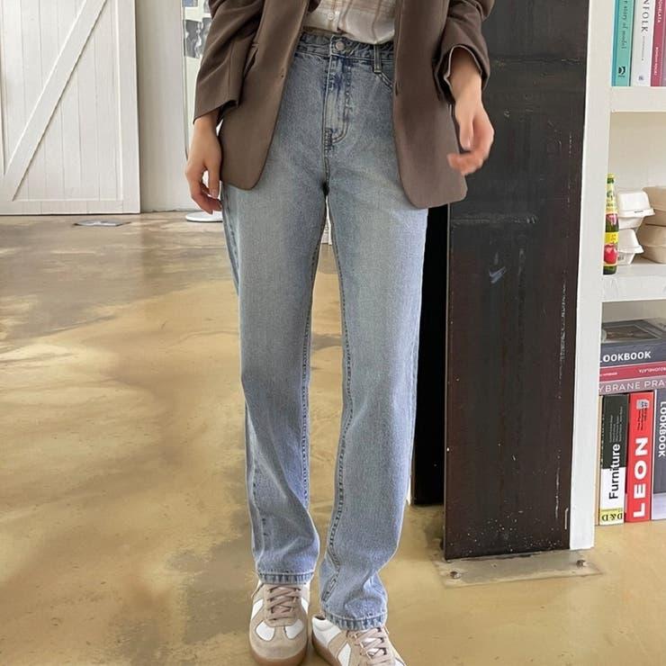 ノンストレッチルーズストレートウォッシングデニムパンツ 韓国ファッション | ENVYLOOK | 詳細画像1