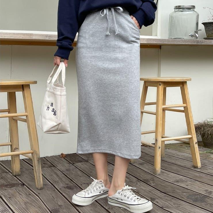 ウエストゴムバックスリットミモレ丈スウェットスカート 韓国ファッション カジュアル | ENVYLOOK | 詳細画像1