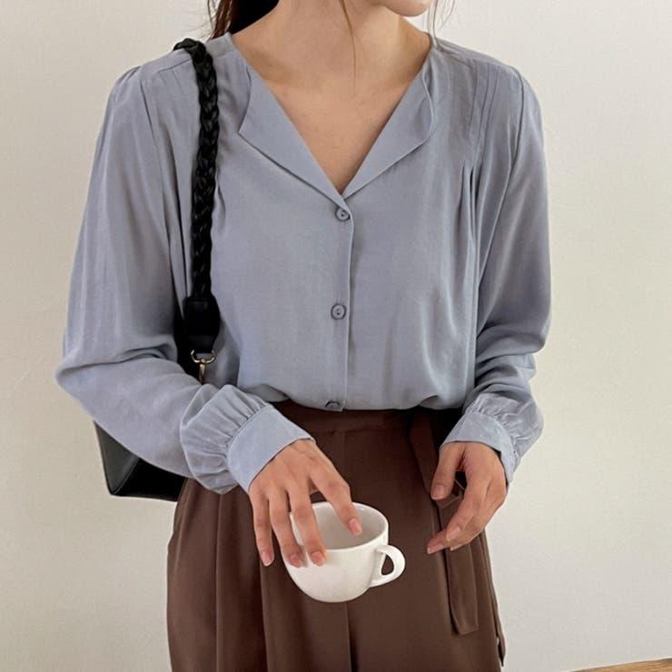 肩ラインダーツVネックブラウス 韓国ファッション カジュアル | ENVYLOOK | 詳細画像1