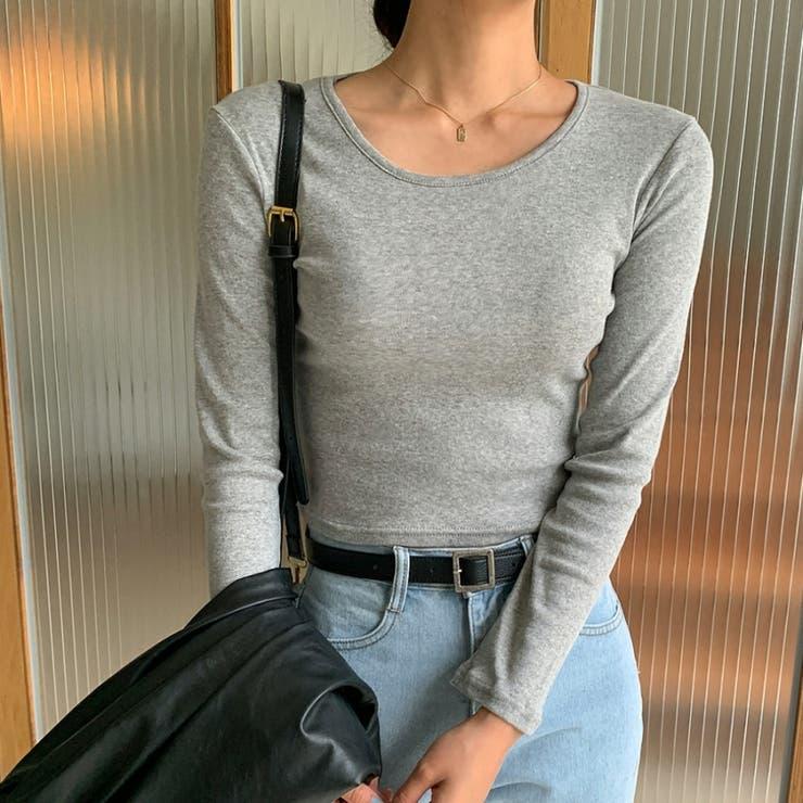 スリムクロップドラウンドTシャツ 韓国ファッション カジュアル   ENVYLOOK   詳細画像1