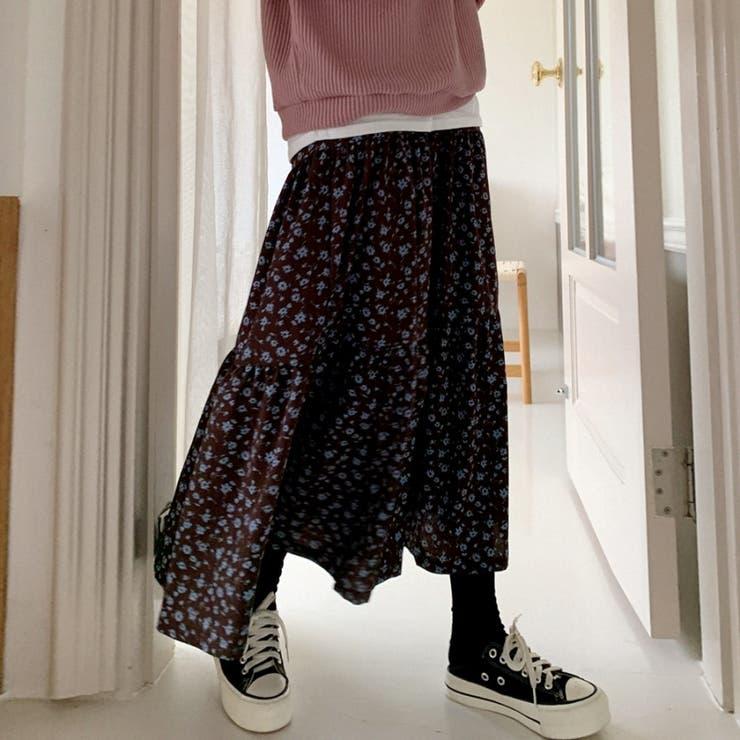 ディープカラー花柄マキシティアードスカート 韓国ファッション カジュアル   ENVYLOOK   詳細画像1