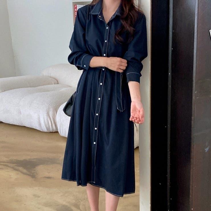 ウエストストラップ付き配色ステッチフレアワンピース 韓国ファッション カジュアル | ENVYLOOK | 詳細画像1
