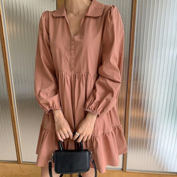 襟付きVネックミニボタンティアードミニワンピース 韓国ファッション カジュアル   ENVYLOOK   詳細画像1
