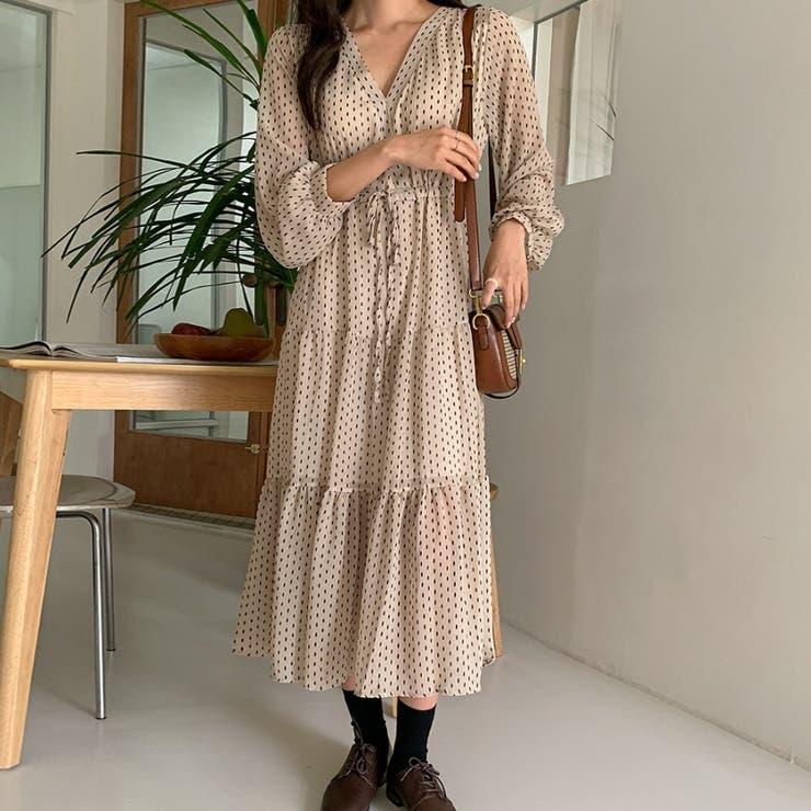 ダイヤパターンウエストドロストVネックロングワンピース 韓国ファッション | ENVYLOOK | 詳細画像1
