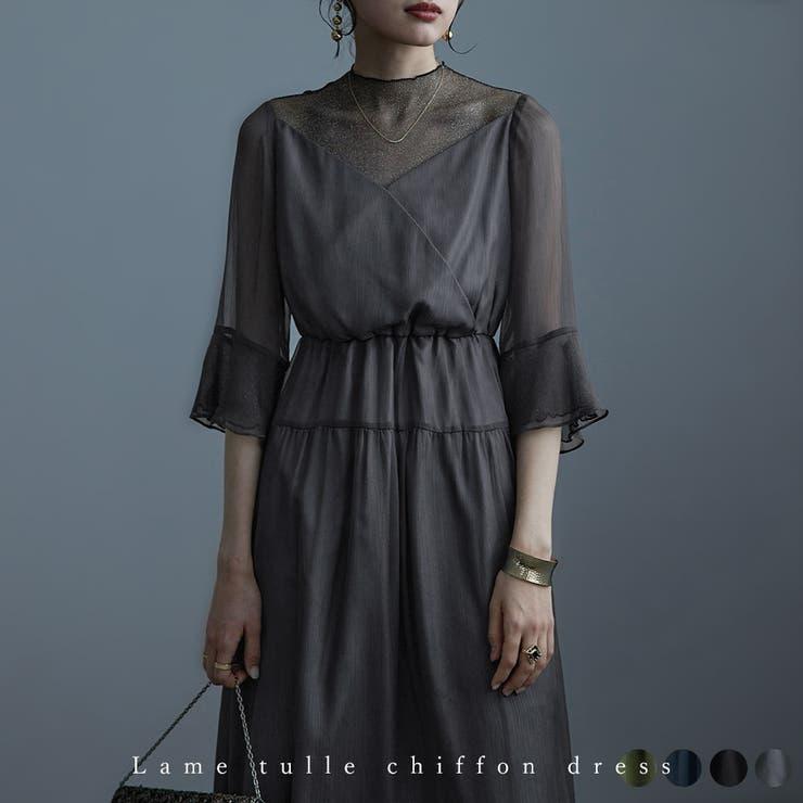 ラメチュールシフォンドレス ワンピース レディース | Fashion Letter | 詳細画像1