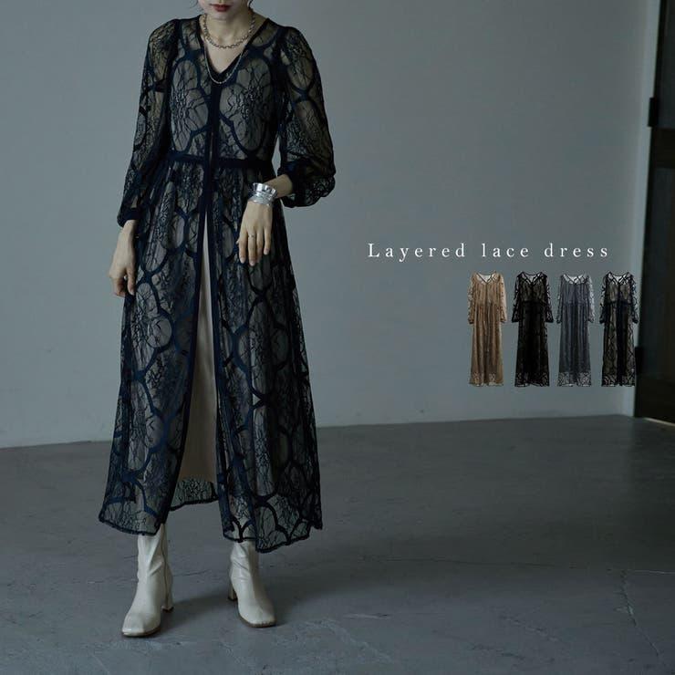 レイヤードレースドレス ワンピース ワンピ   Fashion Letter   詳細画像1