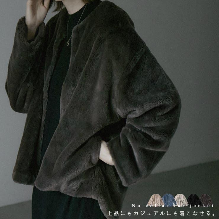 ノーカラーファージャケット レディース ショート丈   Fashion Letter   詳細画像1