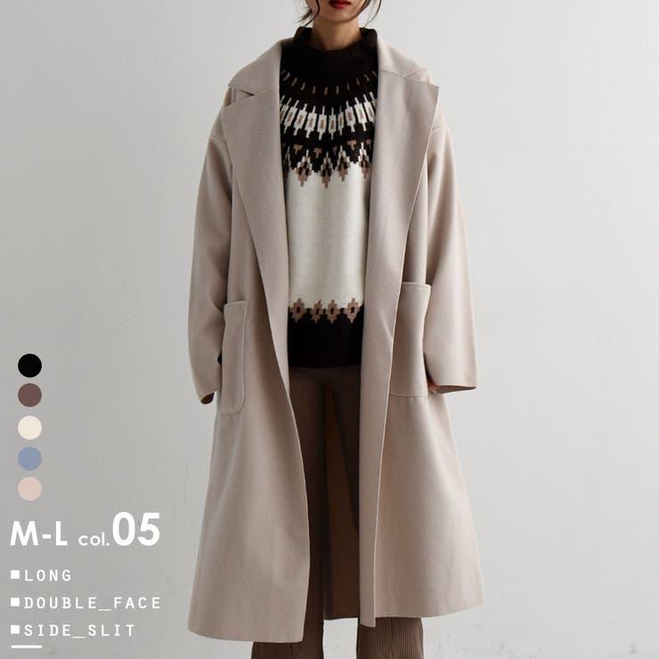 ダブルフェイスロングコート アウター コート   Fashion Letter   詳細画像1